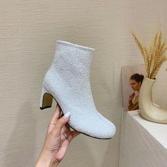 Anran - Split-Toe Block Heel Short Boots