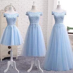 Remme - Off-Shoulder Floral Applique A-Line Cocktail Dress / Gown