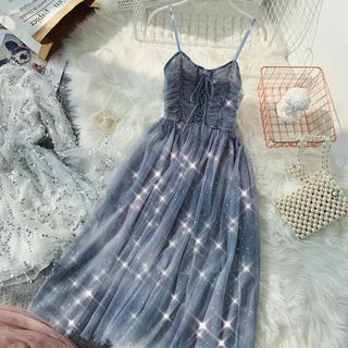 Lucuna - Set: Long-Sleeve Tulle Top + Spaghetti Strap Midi Dress