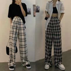 Moon City - Plaid Wide-Leg Pants