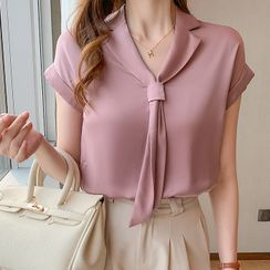 Voila - 短袖領結帶襯衫