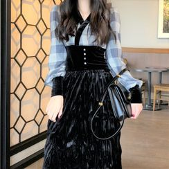 Cebusky - Plaid Shirt / High-Waist Midi Skirt