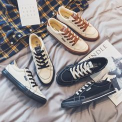 SHIN Shop - 配色飾縫線繫帶休閒鞋