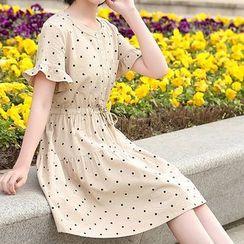 YICON - Polka Dot Short-Sleeve A-Line Dress