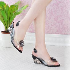 Freesia - Flower Embellished Clear Wedge Heel Pumps