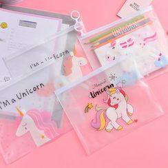 Dojia - Unicorn Print Transparent Zip Pouch
