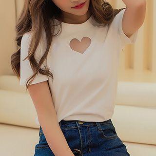 Ashlee - 心心网纱拼接短袖T恤