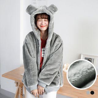 OrangeBear - Eared Fuzzy Chenille Hooded Coat