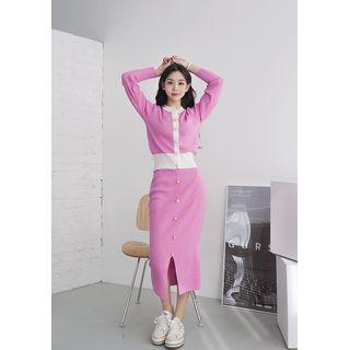 chuu - Buttoned Knit Cardigan & Matching Skirt Set