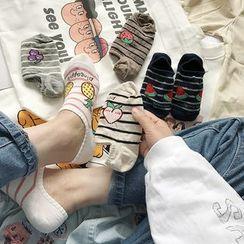 Small Planet - 水果印花條紋襪子