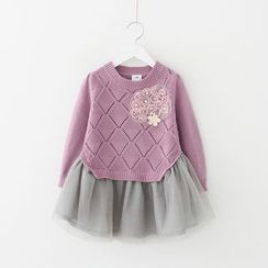 Seashells Kids - Kids Flower Applique Mesh Hem Sweater Dress