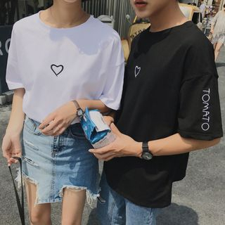 ZENME - Couple Matching Embroidered T-Shirt