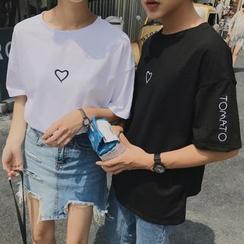 ZENME(ゼンメ) - 刺繍入りカップルマッチング Tシャツ