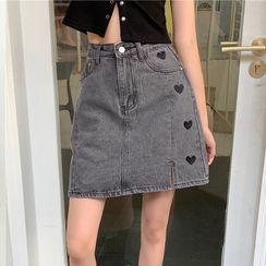 Flowerbop - Embroidered Mini A-Line Denim Skirt