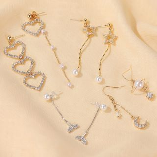 Mulyork - 猫眼石 / 水钻 / 仿珍珠耳环 (多款设计)