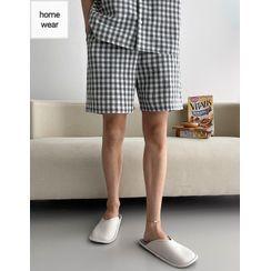 JOGUNSHOP - Gingham Pajama Shorts