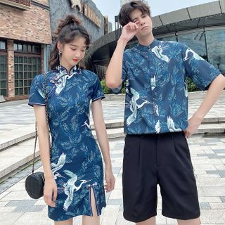Azure - Couple Matching Short-Sleeve Crane Print Shirt / Shorts / Mini Qipao