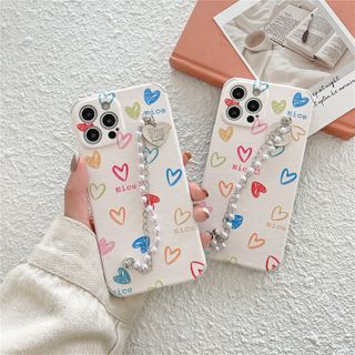 Surono - Heart Faux Pearl Hand Chain Phone Case - iPhone 12 Pro Max / 12 Pro / 12 / 12 mini / 11 Pro Max / 11 Pro / 11 / SE / XS Max / XS / XR / X / SE 2 / 8 / 8 Plus / 7 / 7 Plus