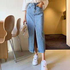 DEEPNY - Deep-Slit Maxi H-Line Denim Skirt