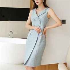 CHICLINE - Sleeveless Double-Breasted Coatdress