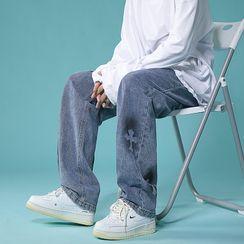 JUN.LEE(ジュンリー) - Cross Print Wide Leg Jeans