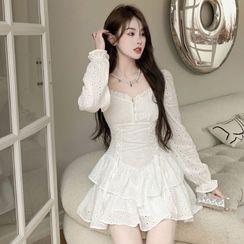 YEYCAT - Long-Sleeve Eyelet Lace Mini Tiered Dress