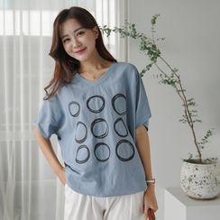 CLICK - Dolman-Sleeve Printed T-Shirt