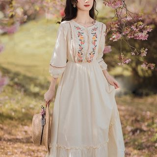 Kokuko - Long-Sleeve Embroidered Midi A-Line Dress