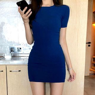 Conah - Crew-Neck Short-Sleeve  Bodycon Dress