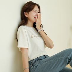 CLICK - Letter-Embroidered Textured T-Shirt