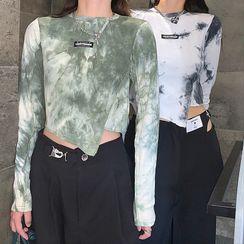 UNISTU - Long-Sleeve Tie-Dye Print T-Shirt