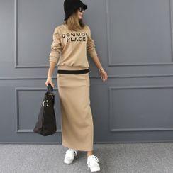 DANI LOVE - Set: Letter Print Layered-Hem  Sweatshirt + Midi Skirt