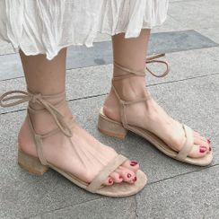 SouthBay Shoes(サウスベイシューズ) - Block Heel Tie-Ankle Sandals
