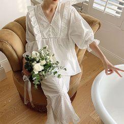 Jilliana - Pajama Set: V-Neck Elbow-Sleeve Dotted Top + Pants