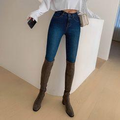LIPHOP - Block-Heel Faux-Leather Long Boots