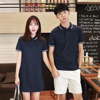 Azure - Couple Matching Striped Short-Sleeve Polo Shirt / Polo Shirt Dress