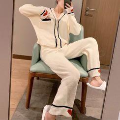 Endormi - Pajama Set: Heart Print Fleece Shirt + Pants