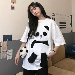 Closette - Elbow-Sleeve Panda Embroidered T-Shirt