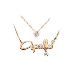 BELEC - Plated Rose Gold Horoscope Leo Stainless Steel Necklace with Austrian Element Crystal