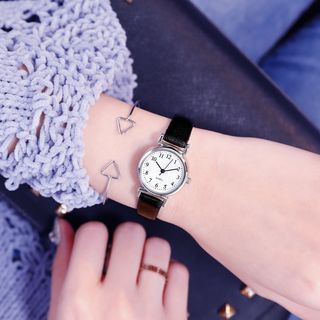 Miraco - Skinny Faux Leather Strap Watch