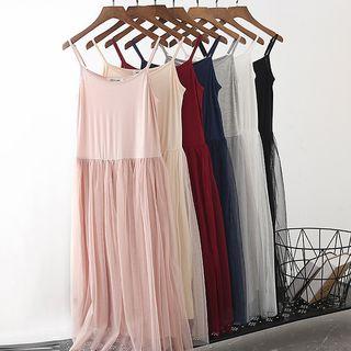 Lacyland - Spaghetti Strap Mesh Midi Dress