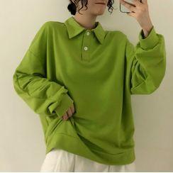 LINSI - 纯色长袖马球衬衫