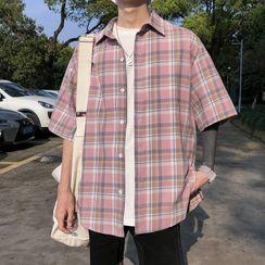 Wescosso  - Plaid Half-Sleeve Shirt
