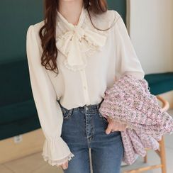 MyFiona - Tie-Neck Lace-Frilled Blouse