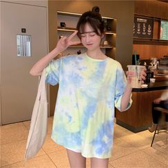 Minimince - Oversized Elbow-Sleeve Tie-Dyed T-Shirt
