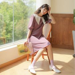 Lady Jean - Collared Elbow-Sleeve Shift Dress
