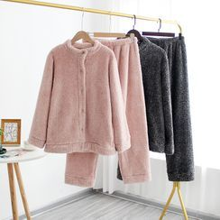 Somnus - 情侶款家居服套裝: 純色抓毛襯衫 + 褲