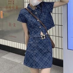 monroll - 短袖牛仔襯衫 / 迷你裙 / 腰帶