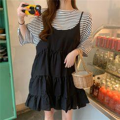 MYT Candy - 套装: 中袖条纹T裇 + 细肩带迷你A字连衣裙