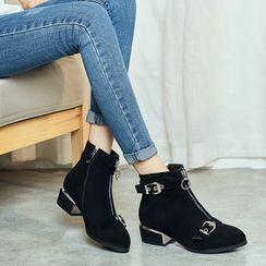 Megan - Block Heel  Short Boots